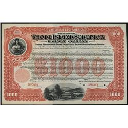 Rhode Island Suburban Railway Co., 1900 Specimen Registered Bond.