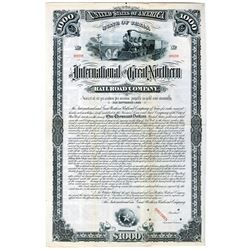 International and Great Northern Railroad Co. 1881 Specimen Bond