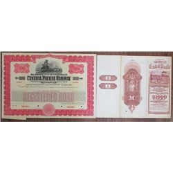 Central Pacific Railway Co. Specimen Bond & Central Pacific Railroad Co. of California Specimen Bond