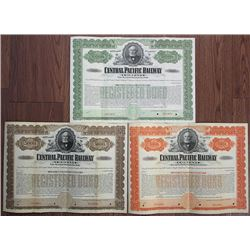 Central Pacific Railway Co. Specimen Bond Trio