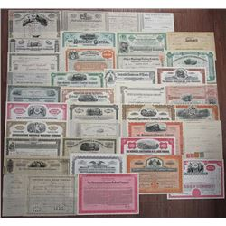 Eastern State Railroad Stock Certificate Assortment, I/C and U/U Group of 34 pieces.