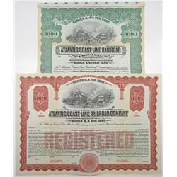 Atlantic Coast Line Railroad Co., 1914 Specimen Bond Pair