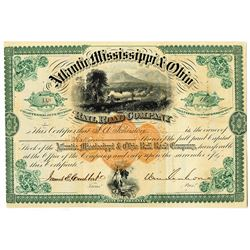 Atlantic, Mississippi & Ohio Rail Road Co. 1871 I/U Stock Certificate Signed by Confederate Major Ge