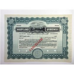 Maryland Virginia Railway Co., 1900-20 Stock Certificate Rarity