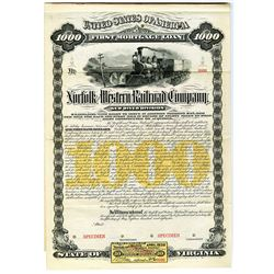 Norfolk and Western Railroad Co. 1882 Specimen Bond Rarity