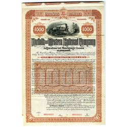 Norfolk and Western Railroad Co. 1884 Specimen Bond Rarity