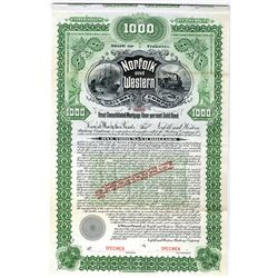 Norfolk and Western Railway Co. 1896 Specimen Bond