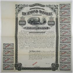 Richmond and Danville Railroad Co. 1881 Specimen Bond Rarity