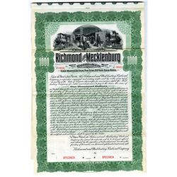Richmond and Mecklenburg Railroad Co. 1898 Specimen Bond Rarity