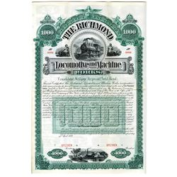 Richmond Locomotive and Machine Works 1889 Specimen Bond Rarity.