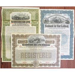 Seaboard Air Line Railway, 1901 & 1909 Specimen Bond Trio
