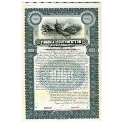 Virginia and Southwestern Railway Co. 1902 Specimen Bond Rarity