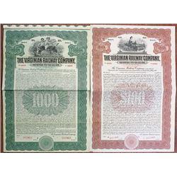 Virginian Railway Co., 1912 Specimen Bond Pair