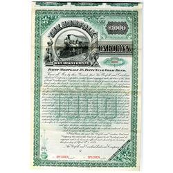 Norfolk and Carolina Railroad Co. 1889 Specimen Bond Rarity
