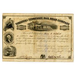 Virginia and Tennessee Rail Road Co., 1857 I/U stock Certificate.