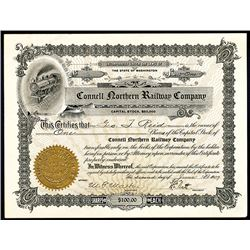 Connell Northern Railway Co. 1909 I/U Stock Certificate.
