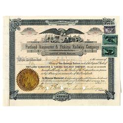 Portland Vancouver & Yakima Railway Co. 1898 Stock Certificate