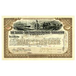 Seattle and San Francisco Railway and Navigation Co., 1902 I/U Stock Certificate