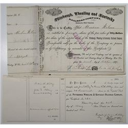 Pittsburgh, Wheeling and Kentucky Railroad Co., 1874 I/C Stock Certificate & Transfer.