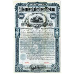 Milwaukee, Lake Shore and Western Railway Co. 1893 Specimen Bond Rarity