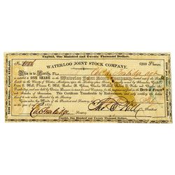 Waterloo Joint Stock Co. 1837. Stock Certificate.