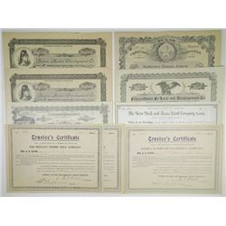 Texas Land Development Stock Certificates, Issued and unissued, ca.1880-1909