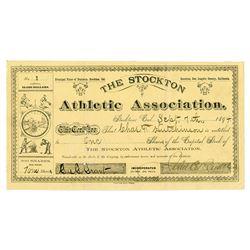 Stockton Athletic Assoc., 1894 I/U Stock Certificate, Serial #1 - Baseball, Hunting, Tennis Images.
