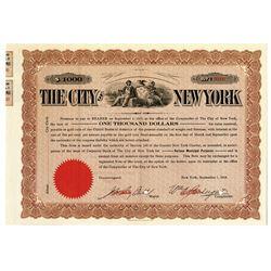 City of New York 1914 Specimen Bond