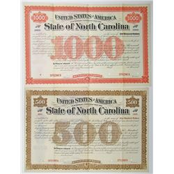 State of North Carolina, ca.1889-1900 Specimen Registered Bond Pair