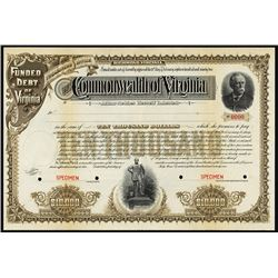 Commonwealth of Virginia, 1891 Specimen Bond.