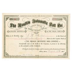 Manakin Automatic Doll Co., 1884 I/U Stock Certificate