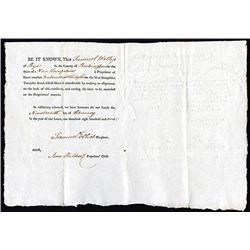 New-Hampshire Turnpike Road. 1801. Issued Stock Certificate.