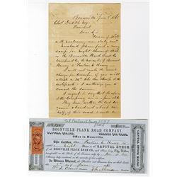 Boonville Plank Road Co., 1868 I/U Stock Certificate