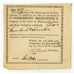 Centre & Kishacoquillas Turnpike Road Co. 1822. Issued Stock Certificate.