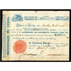 Hatborough and Warminster Turnpike Road Co, 1851 I/C Stock Certificate
