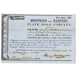 Montrose and Harford Plank Road Co. 1854 I/U Stock Certificate