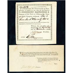 Pennsylvania, 1819-1822, Pair of I/U Turnpike Stock Certificates