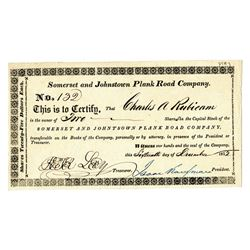 Somerset and Johnstown Plank Road Co., 1852 I/U Stock Certificate.