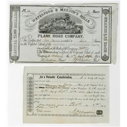 Waterford & Marvin's Mills Plank Road Co. 1852 I/U Stock Certificate