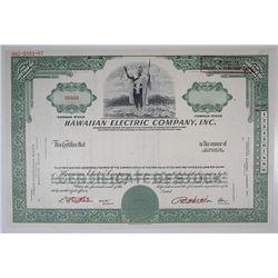 Hawaiian Electric Co., Inc., 1967 Specimen Stock Certificate