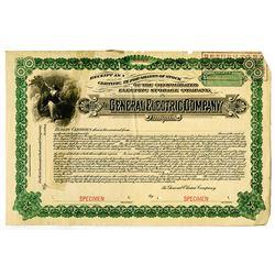 General Electric Co. 1892 Specimen Stock Certificate Rarity