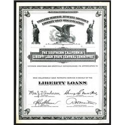 Southern California Liberty Loan State Central Committee, ca.1917-18 Remainder Certificate.