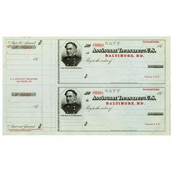 "Assistant Treasurer of the United States 1870s ""U.S. Navy"" U/U Checks by BEP."