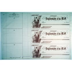 Depositary of the U.S. Detroit, MI, 1850's, Uncut sheet of 3 Checks Used to Pay Soldiers and Militar