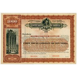 U.S. Department of the Interior - 1894 Specimen U.S. Federal Cherokee Nation Bond.