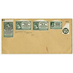 U.S. Liberty Loan Payment Coupon/Stamp Proof Quartet, ca.1917-1919.