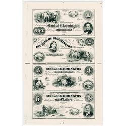 Bank of Bloomington 1850's (1960-70's ABN Reprint) Uncut Sheet of 4 Proprietary Proofs.