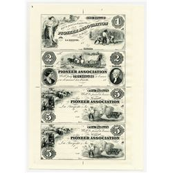 Pioneer Association 1850's (ca.1970's), Uncut Sheet of 4 Proprietary Progress Proofs.