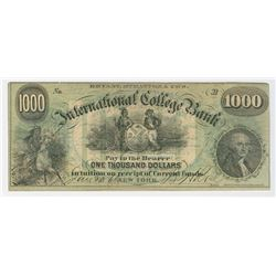 Bryant & Stratton's International College Bank, 1868, $1000 Issued College Currency Obsolete Note.