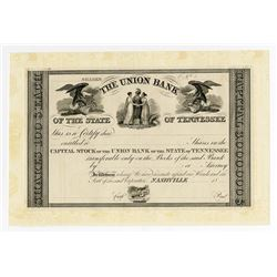 Union Bank of the State of Tennessee, ca.1830's Proof Stock Certificate.